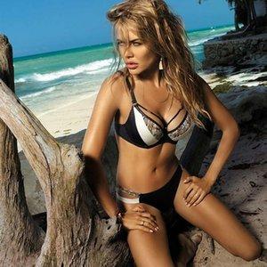 Nueva impresión atractiva del bikini empuje hacia arriba traje de baño atractivo de las mujeres de la serpiente de la piel del traje de baño del traje de baño del vendaje bañistas Mujer Plus Tamaño Biquini 2020