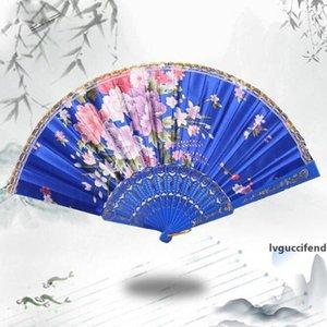 Brand new high quality color silk cloth 7 inch dance lace fan Women Silk Phnom Penh Flower Fan