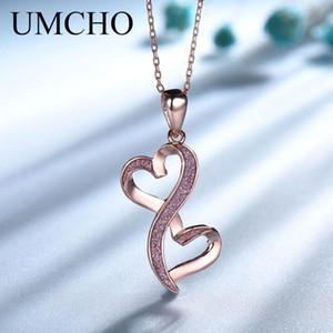 UMCHO Rose Gold Farbe Doppel-Herz-Anhänger-Halskette reale 925 Sterlingsilber-Halskette für Liebhaber Valentinstag Geschenk Schmuck