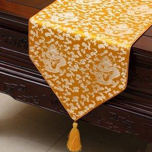 Ethnische Lengthen Chinese Dragon Tischläufer Luxuxqualitäts Seidenbrokat Coffee Table Cloth Eßtisch Schoner 230x33 cm