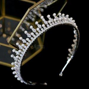 Cubic Zirconia joyería femenina Alargamiento de corona de la perla de novia Tiara ASNORA desfile del tocado de boda completa Accesorios para el cabello MX200720