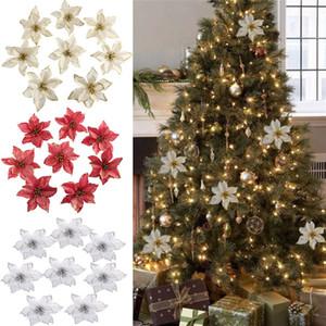 13cm Big Flower Head Arbre de Noël Glitter fleurs de soie artificielle Ornement de bricolage Décoration de Noël Nouvel An 2020 Décor Navidad