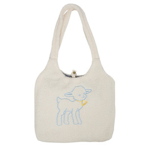 Handbag Canvas ABER Mulheres Lamb Gosta Tecido Shoulder Bag Simples Tote Grande Capacidade Bordado Saco de Compras Sacos bonitos livro para meninas