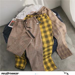 Privathinker Homens Mulheres coreano preto da manta calça casual 2020 Mens Streetwear Harem Pants masculino Checkered Calças Plus Size CX200728