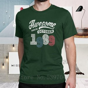 Awesome Since October 1989 Shirt Vintage 29th Birthday T-Shirt Anniversary Man's T Shirt Cotton Plus Size Tee Shirt short sleeve