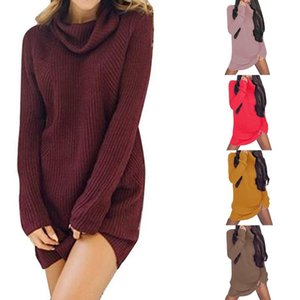 HEFLASHOR Women Autumn Knitted Sweater Dress Fashion Turtleneck Dresses Female Winter Long Sleeve Loose Knit Pullover Sweaters uWBV#