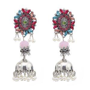 Vintage retrò con campana pendente perline nappa pendenti orecchini orientali strass di strass orecchino per le donne
