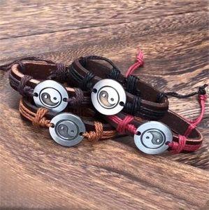 DHL epacket Eight Diagrams Accessories Leather Bracelet Woven Hot Tai Chi Leather Bracelet DJFB472 ID, Identification jewelry bracelets