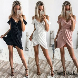 2020 Women Arrival Twill Summer Short Mini Dress Casual Sleeveless V Neck Polyester Dress Drop Shipping