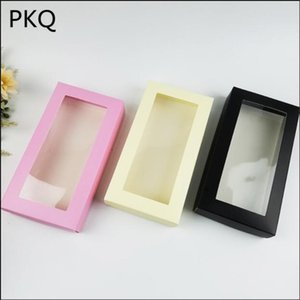 10pcs 21*11*3.5CM Large Cardboard Paper Box with PVC Clear Window Packaging Silk Scarf Clothing Storage Box Wallet Wrapping