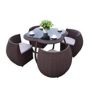 Enregistrer le lieu chaise en osier ensemble de jardin chaise en rotin de mode mis en mobilier d'extérieur