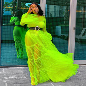 Plus Size Mesh Women Dresses Sexy Solid See Through Flare Sleeve Long Floor Length Dress Women Designer Dress