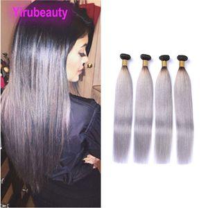 1b peruviano / grigio di estensioni dei capelli 4 Bundles diritti serici 10-28inch 1B Grey Ombre Colore Quattro Pezzi capelli tesse Commercio all'ingrosso Tinti Colore