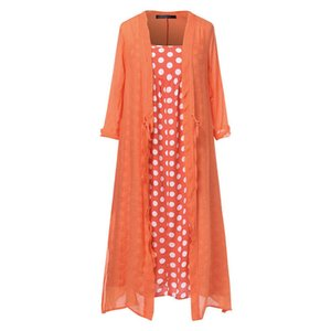 Plus Size 5Xl Dress Ankle Length Women Vintage Boho O Neck Dot Print Lace Two Piece Long Maxi Dress Women Clothes Girls