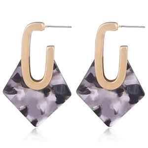 New four-side U-shaped earrings alloy geometric acetate plate acrylic colorful earrings