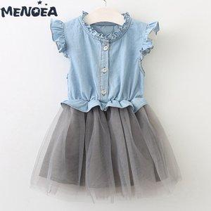 Menoea Kızlar Elbiseler Yeni Moda Çocuk Giyim Sevimli Kolsuz Bebek Kız Denim Elbise Çocuk Giyim Prenses Elbise İçin 3-7Y