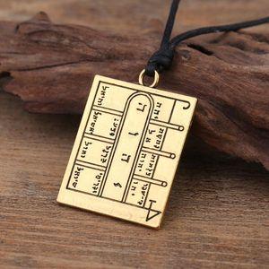 Dawapara Key Of King Solomon Pentacle Open Doors Amulet Talisman Square Pendant Necklace The Moon's First Magic Array