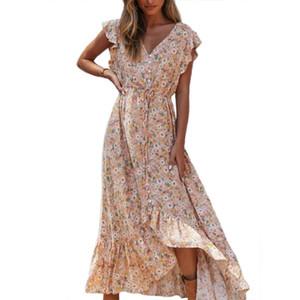 Robe longue imprimé floral Boho été Vestidos Boutons Jupettes Ladies Gypsy Robes Casual Femme 2020 Printemps Eté Nouveau
