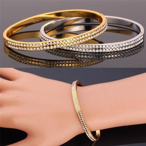 Simple Style Cool Bracelet 2015 New Fashion Jewelry 18K Real Gold Plated Platinum Plated Rhinestone Bangle