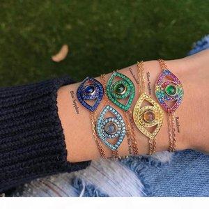 R 925 Sterling Silver Evil Eye Bracelet 8 Colors Rainbow Colorful Cz Lucky Turkish Jewelry Fine Silver Link Chain Bracelets
