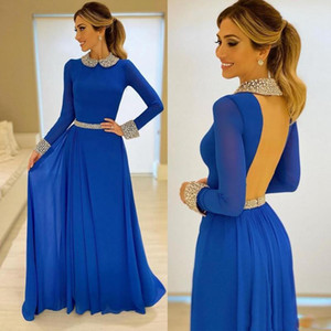 Graceful Blue A Line Evening Dresses Jewel Neck Long Sleeve Backless Prom Gowns Floor Length Chiffon Plus Size Formal Party Dress B95