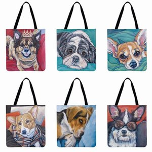 Watercolor Puppy Printing Tote Bag Linen Febric Casual Tote Reusable Beach Bags Women Shoulder Bag Foldable Shopping