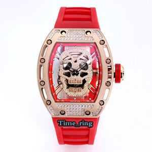 Mejor Edición RM52-01 dial esquelético de oro rosa caja de acero mecánico automático Movimiento RM52-01 reloj para hombre de la correa de goma diseñador relojes deportivos