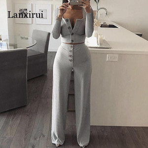 Autumn Women Knitted Rib Sexy 2 Piece Set Women Winter Casual Gray Matching Sets Outfit 2 Piece Set Elegant Straight Pants