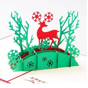 100pcs Christmas Gifts 2016 Foldable Greeting 3D Laser Cut Pop Up Paper Craft Handmade Elk Tree Invitations Postcards ZA1250
