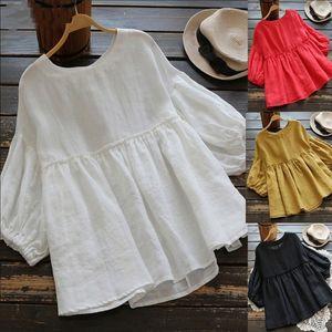 camisa de algodón de la muñeca de la muñeca Top de las nuevas mujeres de algodón y lino y la parte superior de las mujeres de lino