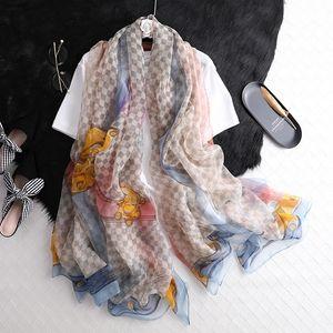 Klassische Gitter Seidenschals Trendiger Streifen Mode Schal Damen Outdoor Schal Schal Strand Sonnenschals Dame Wrap Schals