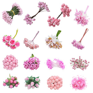 Suprimentos Decoração de Natal Mix Rosa Estilo Artificial Flor Estame Cereja Bagas Bouquet Wedding DIY grinalda Craft Presente