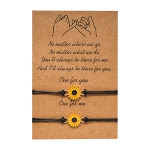 Sunflower Daisy Bracelet Alloy Adjustable Promise Couple Bracelet Friendship Best Friend Gifts Black Rope Chain Leather