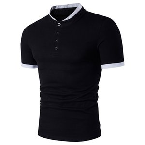 2020 new men's stand collar European and American style solid color cotton large size short sleeve T-shirt