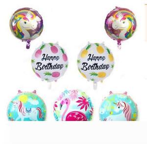 Party Balloon Flamigo Unicorn Foil Balloons Kids Birthday Happy Birthday 18inch Party Decoration Wedding Favors Supplies DHL Free Shipping