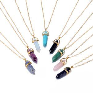 Fashion Hexagonal Column Quartz Necklaces Pendants Gold Chain Natural Stone Crystal Pendant Necklace For Women Jewelry