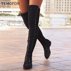 Diz çizme düzlükler üzerinde TEMOFON büyük boyutta kadınlar kadın botları sonbahar kış kadın yeni HVT1380 uzun ayakkabılar süet seksi bağcıklarını