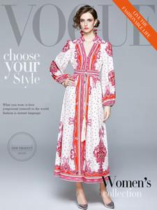Fashion Dot and Geometric Printing Dress 2020 Women's Long Dresses Puff Sleeeve V Neck Waist-clothing Casual Dress