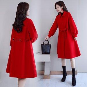 2019 popular season Korean loose en women's cotton umbrella meat slim Coat wool Wool Web celebrity age-reducing woolen coat
