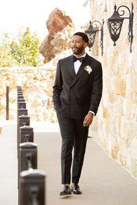 Blazer Men Suits Peaked Lapel Double Breasted Costume Mariage Homme Blazer Jacket Men Tuxedos Groom Wedding Suits 2 Piece Coat+Pant