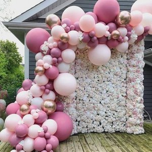 92pcs lot Pink Macaron Balloons Arch Baby Shower Decoration Birthday Wedding Party Deco Christening Favors Pastel Balloons T200612