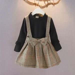 Kids Designer Clothes Girls Plaid Dresses Fake 2pcs Toddler Girl Princess Dress Long Sleeve Children Dress Boutique Kids Clothing DW4758