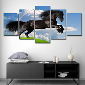5 Panels Modern Animal Running Horse Wall Art Pictures Posters & Prints Blue Sky Canvas Oil Painting Living Room Home Decoration
