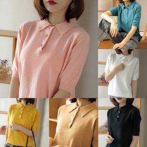2020 Revers Polo T- Shirt Damen-Kurzarm-Shirt einfach oben Frühling und Sommer neues Coregarns gestricktes T-Shirt