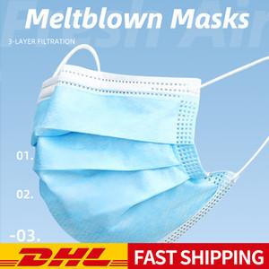100pcs masque jetable tissu meltblown, filtration à trois couches, facile à utiliser, confortable à porter, la respiration et la livraison rapide sans re
