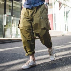 MADEN Mens Baggy Harem cavallo basso Cargo Pants multi tasca cachi verde 1MAw #