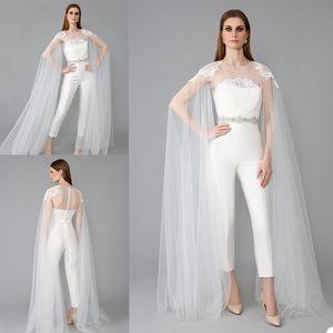2020 New Wedding Jacket Long Sleeves Appliques Lace White Ivory Tulle Bridal Bolero Jackets Button Back Top Wedding Wrap