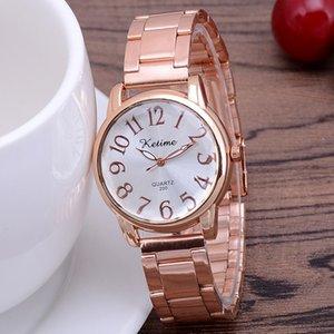 Hot sale rose gold belt ladies watch pure color dial steel belt leisure business quartz watch wholesale