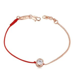 Valentine's Day gift jewelry thin red thread string rope&rose gold color chain bracelet Genuine Czech crystal
