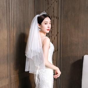 Moda nefis Boncuklu Çok katmanlı Saç Tarak Veil Yeni Gelin Düğün Veil İnci Dekorasyon Beyaz Gezi Fotoğraf